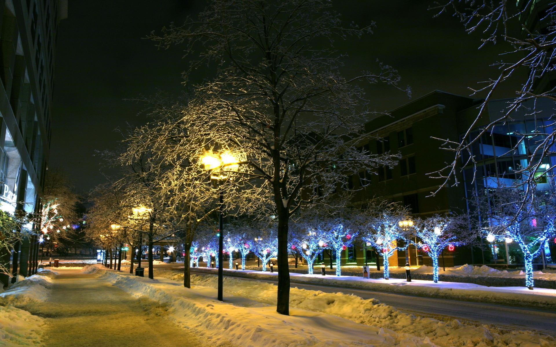 снежная ночь в городе фото живет океане