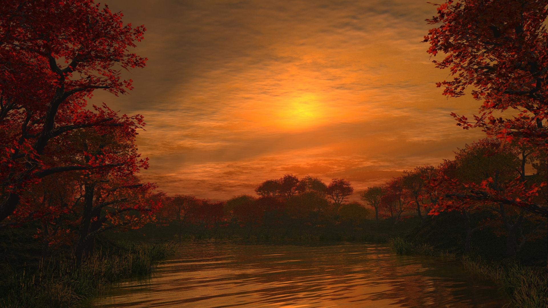 Темный закат над озером  № 3213489 без смс