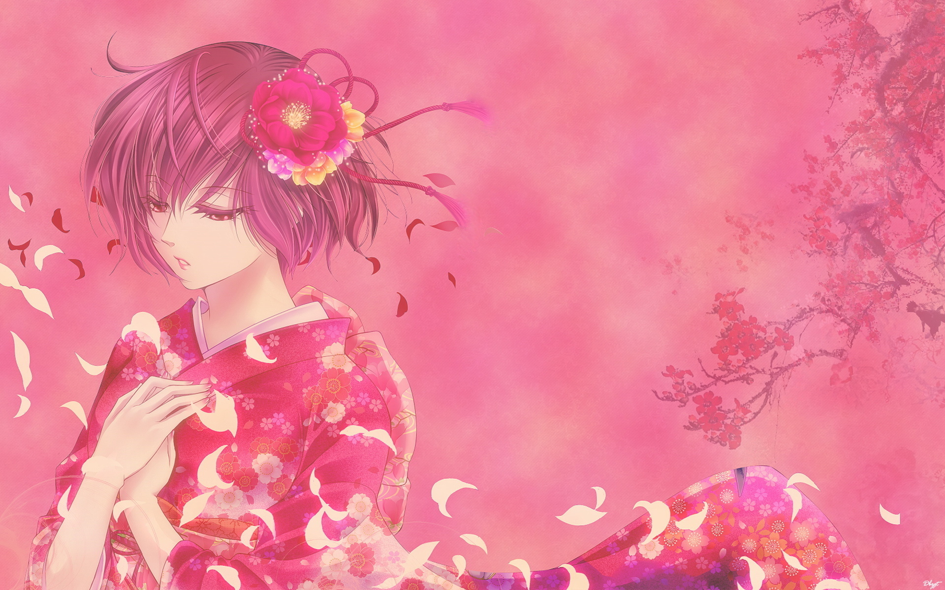 Обои на рабочий стол аниме цветы