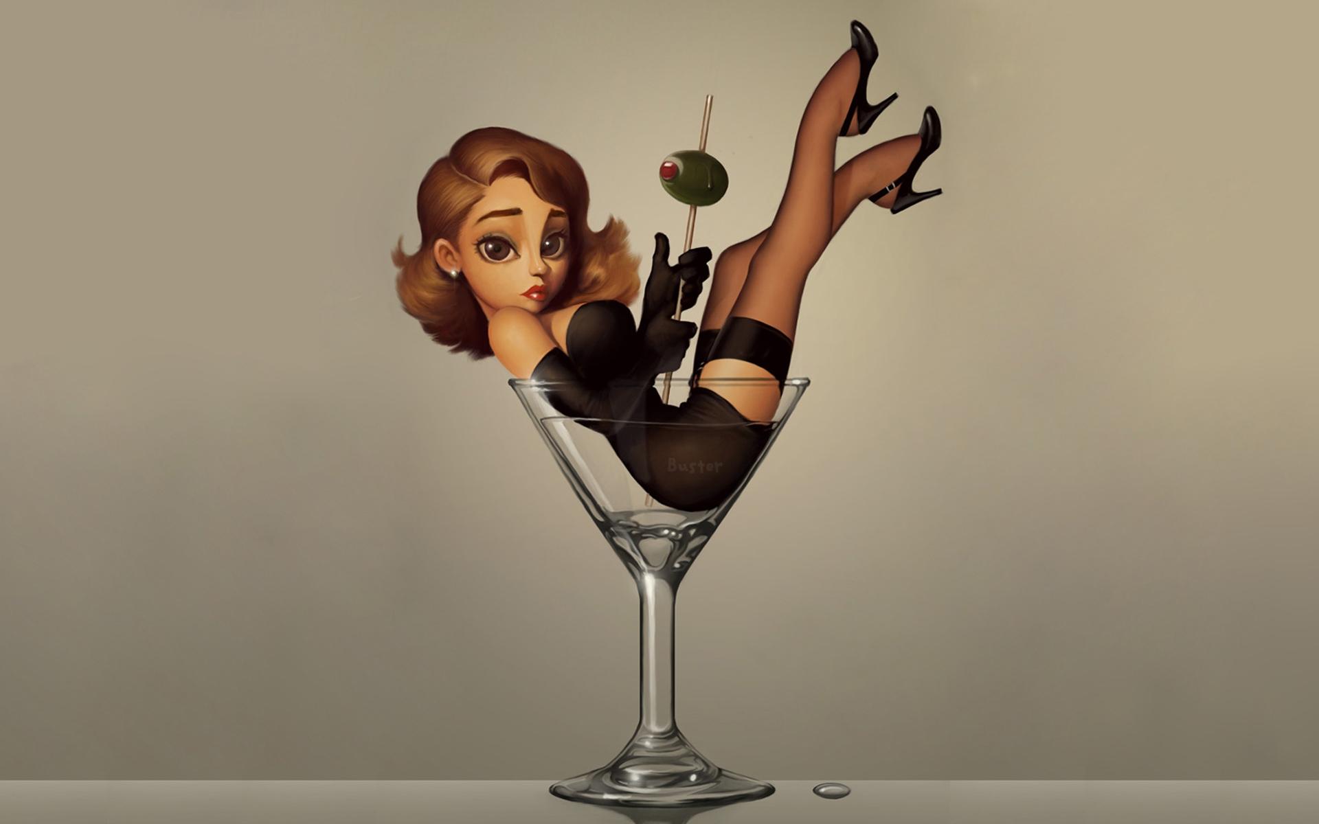 Девушка с бокалом мартини картинки