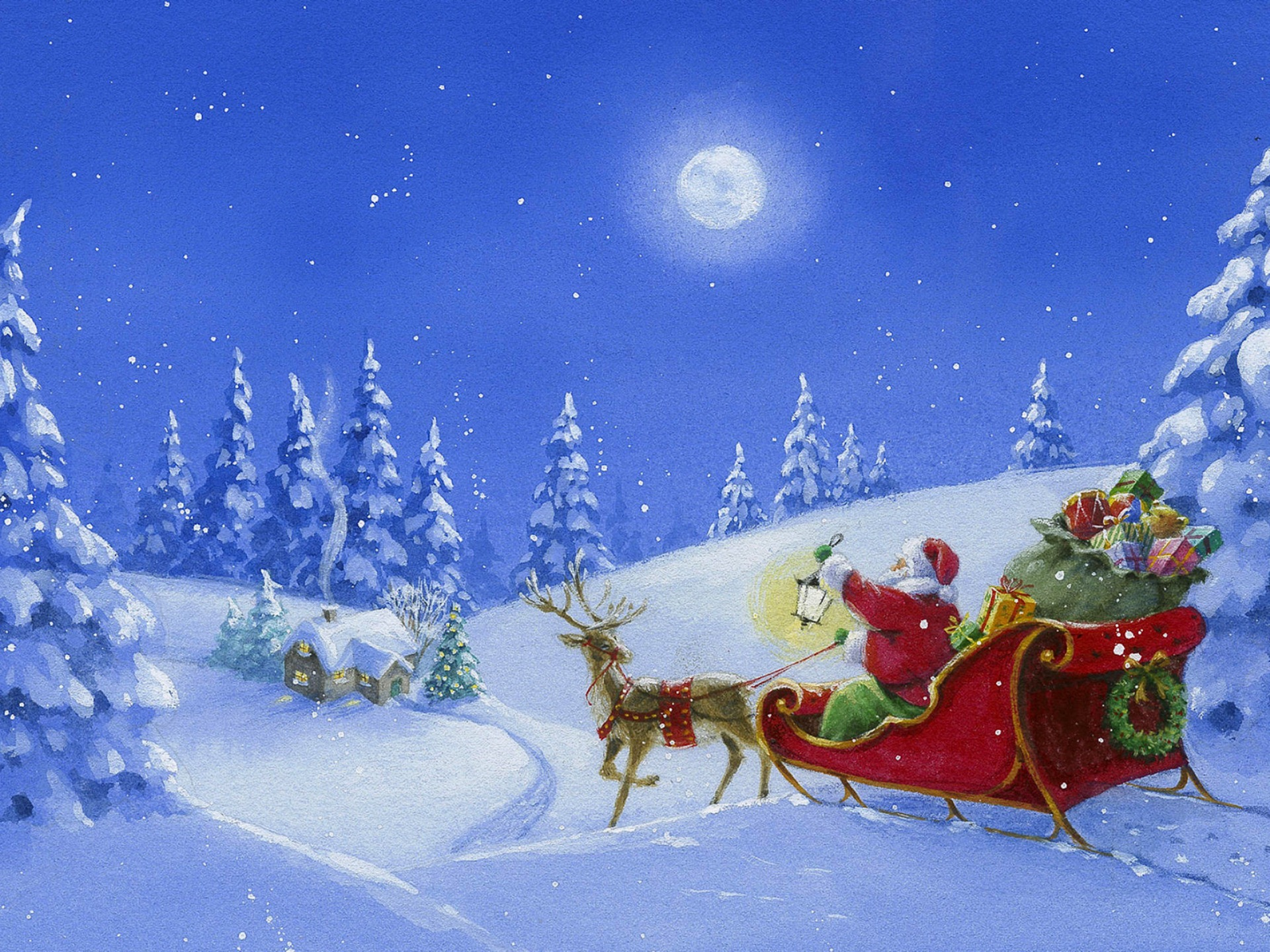 Картинка о зиме и деда мороза