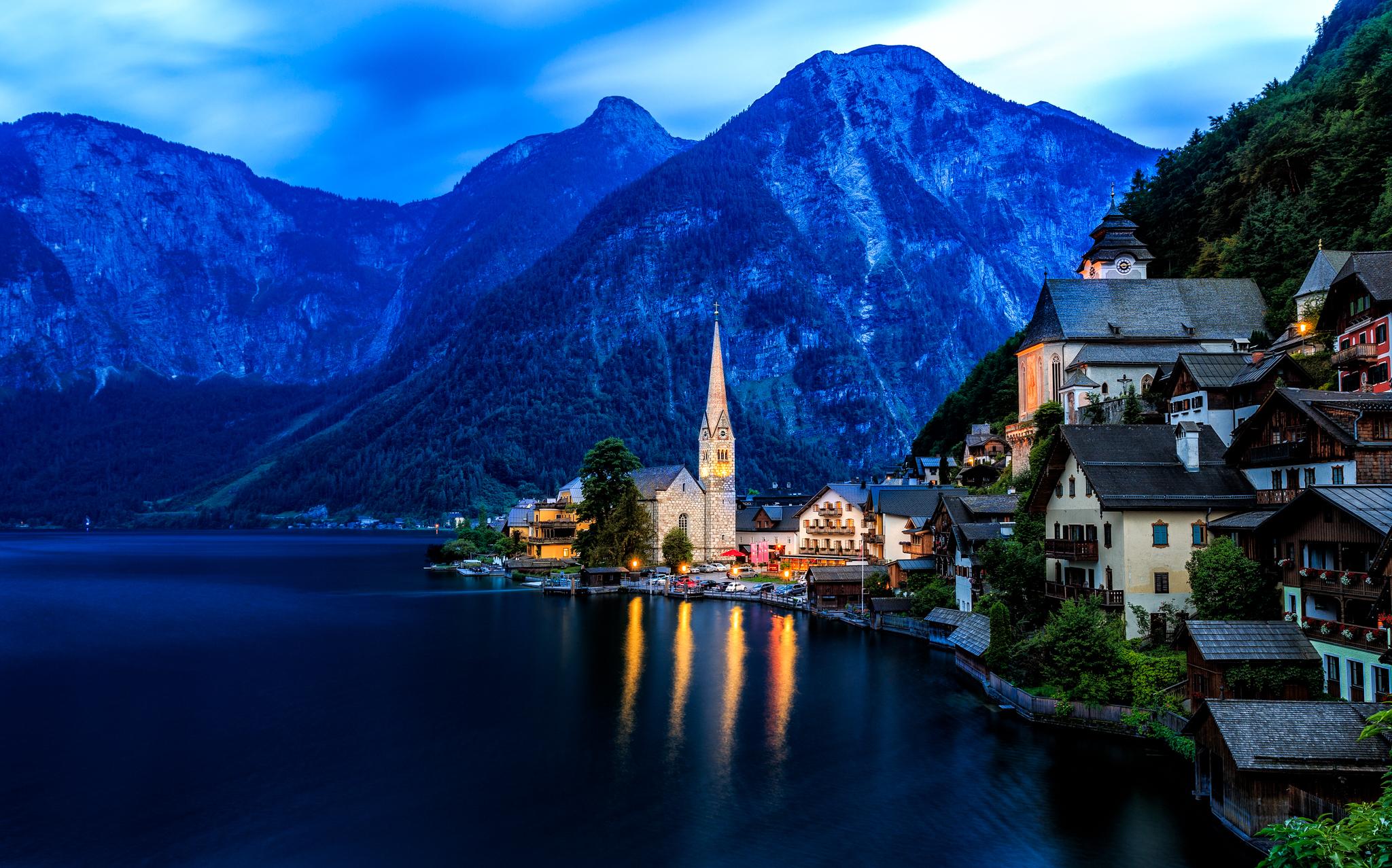 Обои австрия, дома, альпы, гальштат, hallstatt, austria. Города foto 8