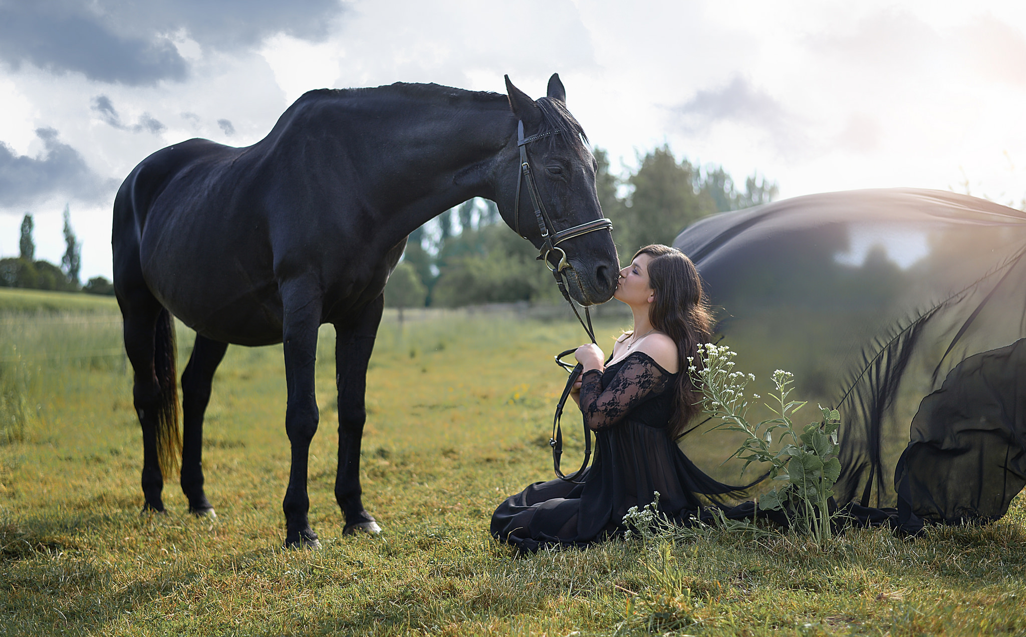 Женщина и конь картинка