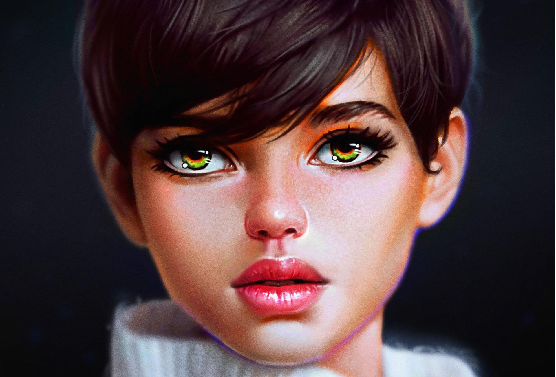 Картинки девочек с зелеными глазами