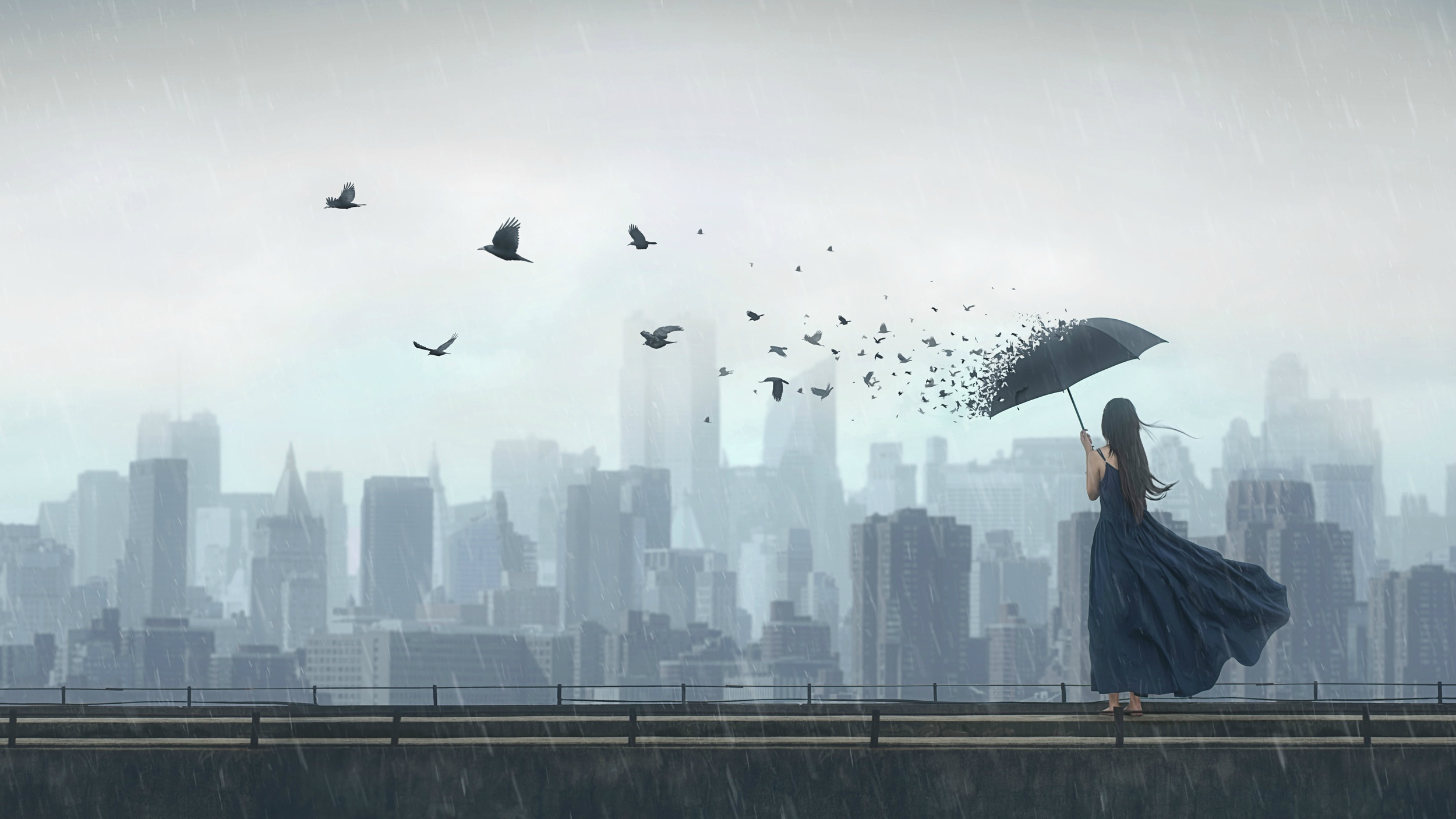 Обои фантазия, Облака, зонты, комната. Ситуации foto 19