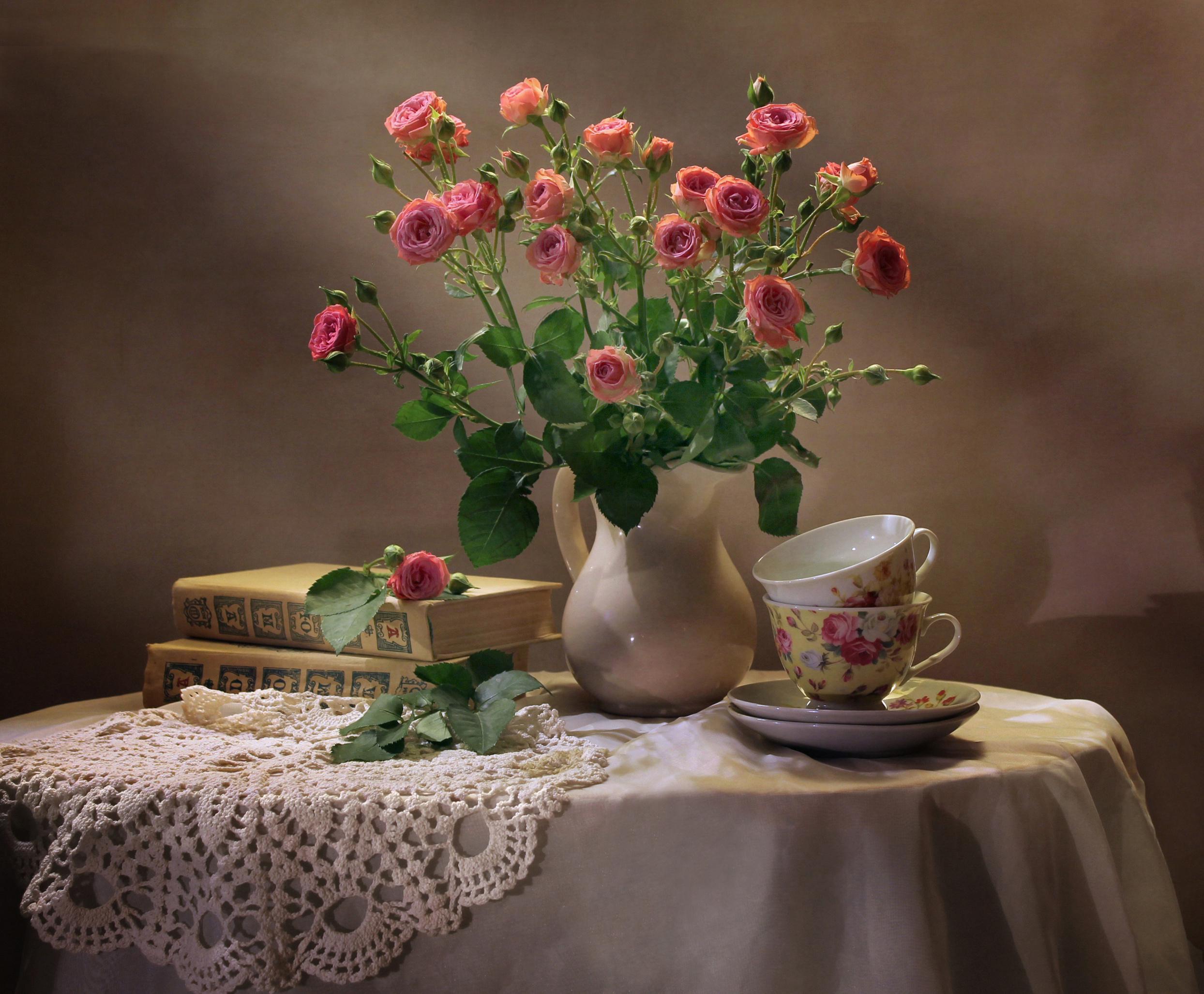 Обои книги, стиль, винтаж, цветы, кувшины. Разное foto 14