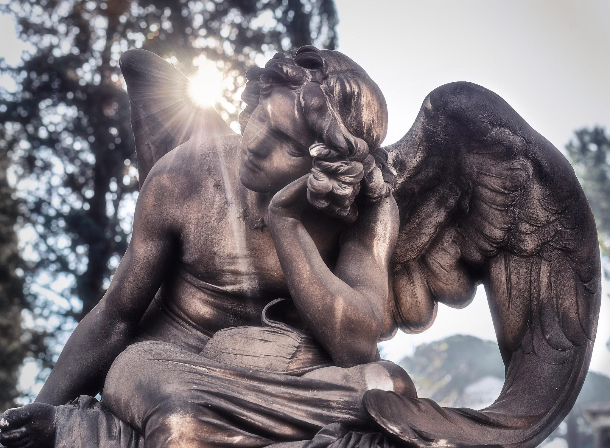 Обои статуя, Человек, Desktopography, ночь. Разное foto 17