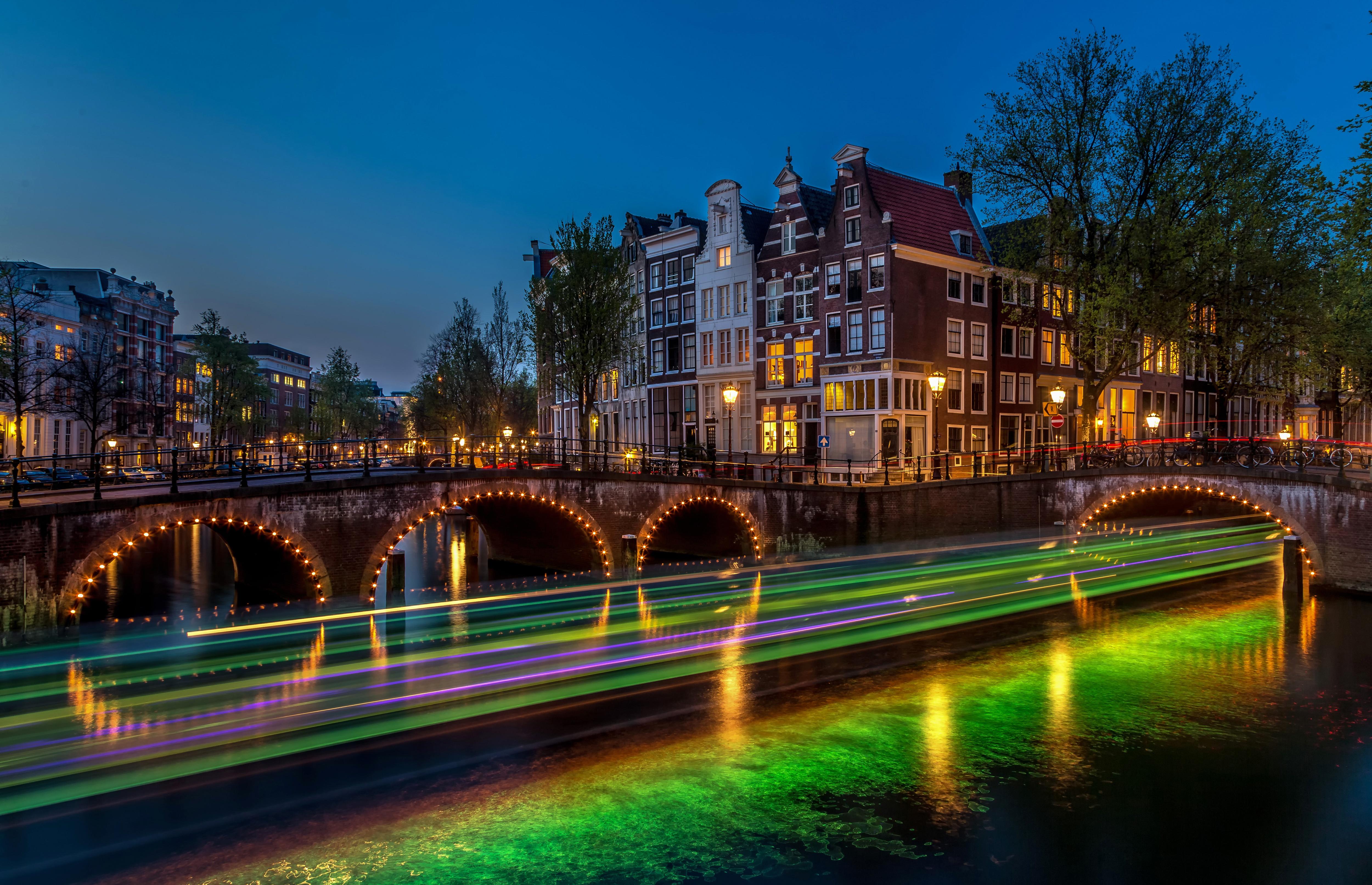 Картинка амстердам ночь мост