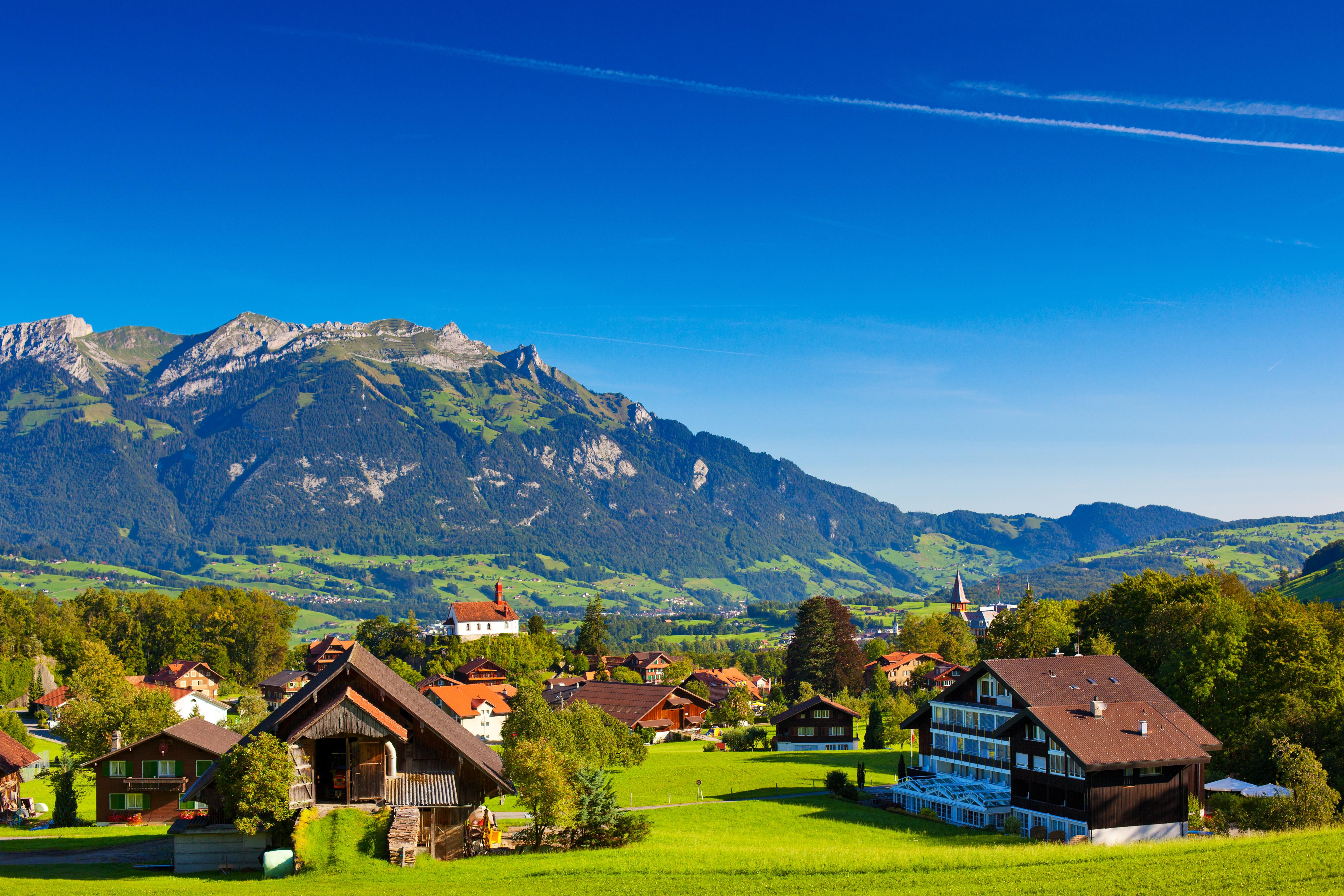 Обои альпы, городок, дома, деревня. Города foto 13
