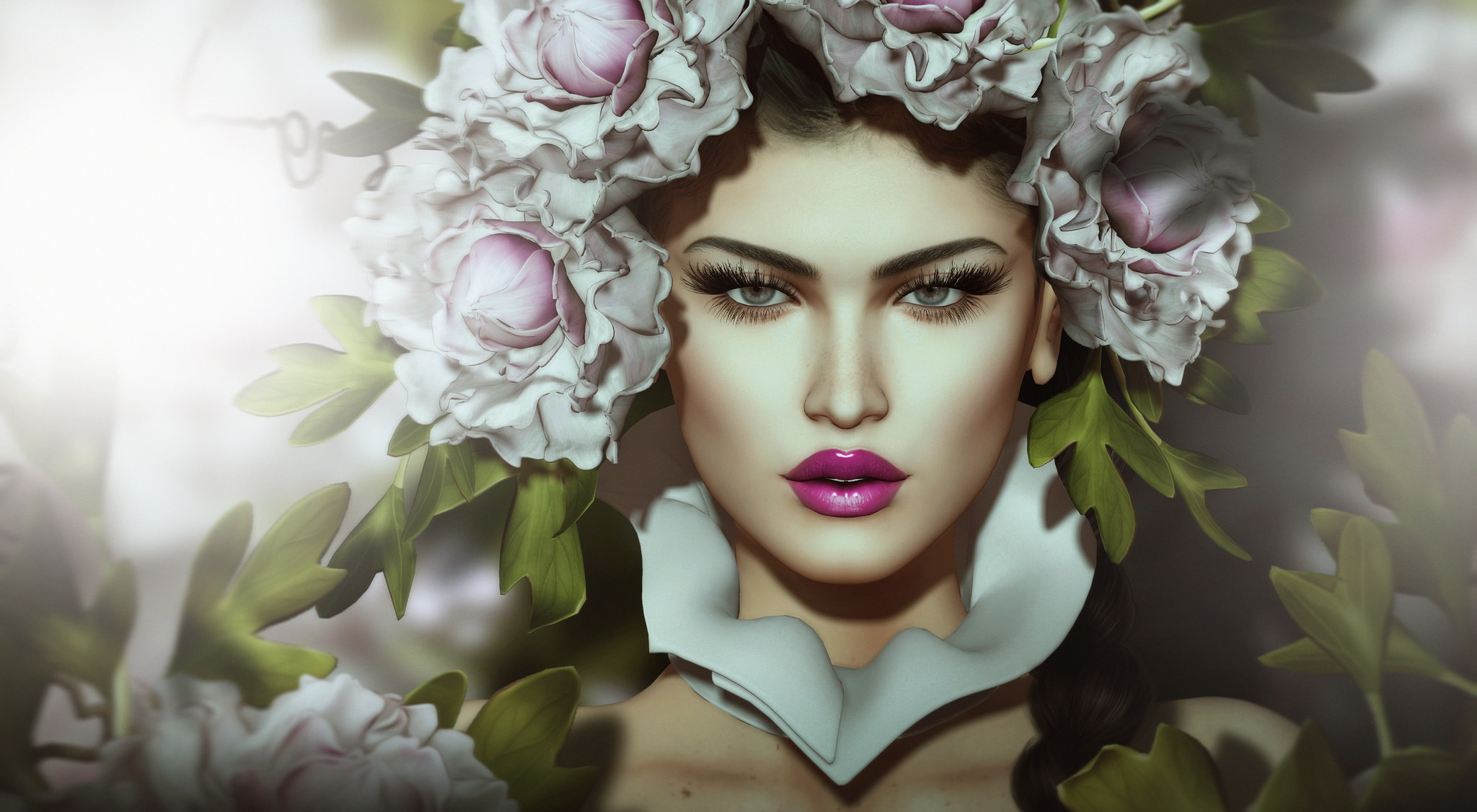 Лицо девушки из цветов фото
