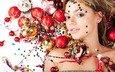 шары, украшения, девушка, звезды, игрушки