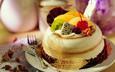 еда, вишня, киви, пирожное