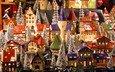снег, новый год, зима, домики, деревня, башни, окна, макет, крыши, красивые новогодние домики, миниатюра