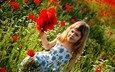 flowers, field, summer, children, girl, child, happiness, childhood