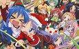group, lucky star, izumi konata, hiiragi tsukasa, hiiragi kagami, takara miyuki, christmas