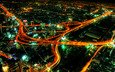 road, lights, view, night city, interchange