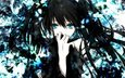 black rock shooter, twintails, vokaloid, black hair