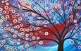 арт, рисунок, дерево, цвет