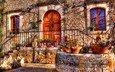 flowers, the door, house, window, hdr, facade, porch