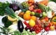 зелень, виноград, фрукты, яблоки, апельсины, грибы, лук, овощи, персики, киви, горох, помидоры, мандарины, бананы, баклажаны, лимоны, перец, капуста, авокадо, кабачки, редис