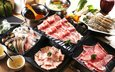 мясо, соус, морепродукты, креветки, японская кухня, суп, ассорти, блюда, моллюски, мясное ассорти
