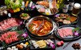 vegetables, meat, fish, seafood, soup, cuts, meals, chinese cuisine
