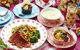 коктейль, овощи, мясо, десерт, салат, суп, ассорти, блюда, паста