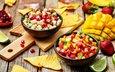 фрукты, клубника, яблоко, лайм, плоды, десерт, гранат, салат, чипсы, манго, salads