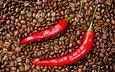 зерна, кофе, чили, перец