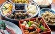 лотос, овощи, роллы, морепродукты, японская кухня, ассорти, блюда, тофу