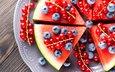 watermelon, berries, blueberries, currants