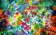 flowers, art, figure, pattern, color, birds, drawings, butterfly, colors, shapes, butterflies