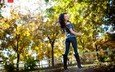 trees, girl, pose, smile, brunette, autumn, jeans, boots