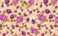 цветы, обои, узор, розы, переплетение