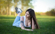 grass, girl, jeans, tattoo, hair, sneakers, maxim romanov