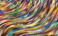 абстракция, линии, волны, разноцветные, цвет, форма