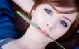 девушка, портрет, взгляд, рыжая, модель, губы, голубые глаза, колосок, лежа, травинка