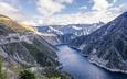озеро, горы, природа, фьорд