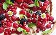 малина, ромашки, ягоды, пирог, ежевика, смородина