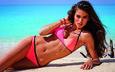 девушка, море, поза, песок, пляж, брюнетка, модель, бикини, kelly gale, келли гейл