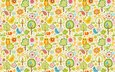 flowers, trees, wallpaper, design, pattern, birds, owls