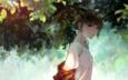 leaves, summer, short hair, anime girl, tree