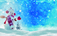 снег, новый год, елка, зима, снеговик, рождество, снегопад