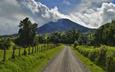 небо, дорога, облака, деревья, природа, забор, вулкан
