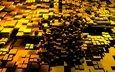 design, cubes, squares, gold, 3d