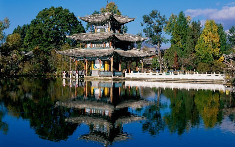 style, house, pond, roof, chinese
