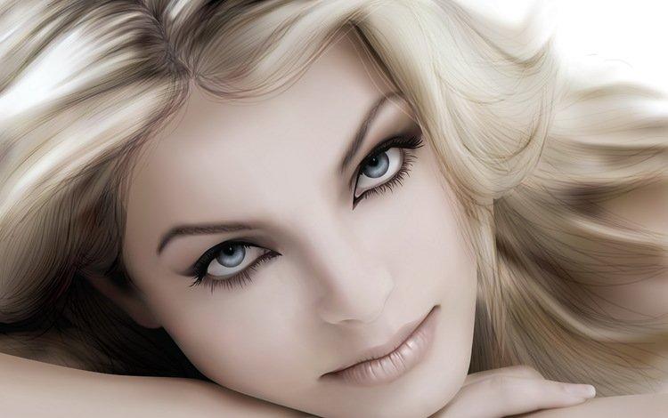 вектор, блондинка, портрет, vector, blonde, portrait