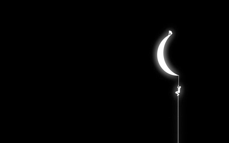 луна, веревка, человечек, the moon, rope, man