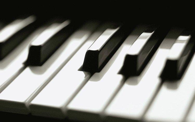 пианино, клавиши, чёрно-белый, piano, keys, black and white