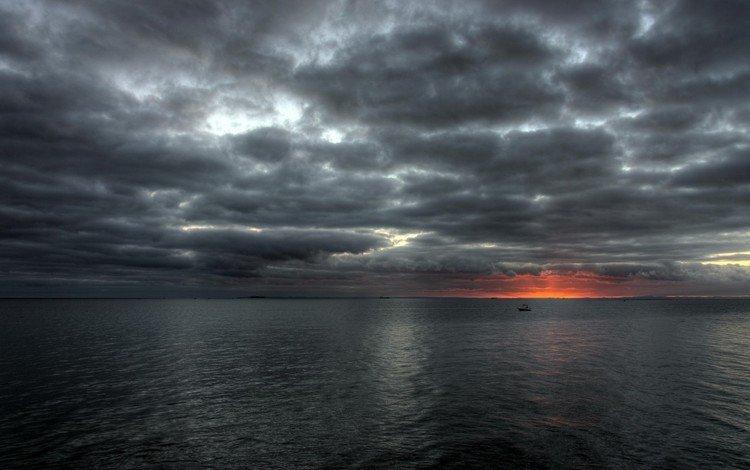 the sky, the sun, sunset, sea